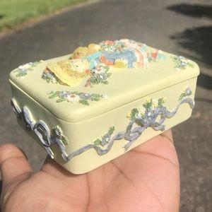 Vintage ceramic embossed little girl trinket box